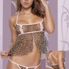 Peek-A-Boo Baby Doll & Panty Leopard/Pink One Size