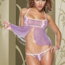 Peek-A-Boo Baby Doll & Panty Purple/Pink One Size