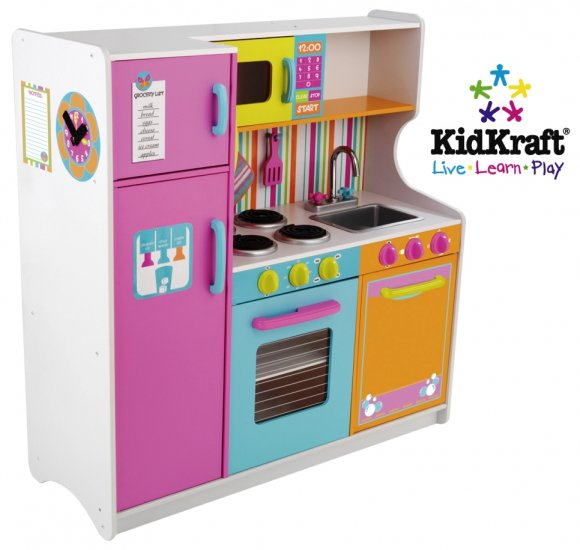 KidKraft Deluxe Big and Bright Childrens Kitchen Toy Pretend Play Set New
