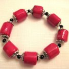Red coral & round beads Bracelet