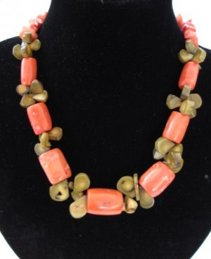 "Orange & Kiwi Coral Necklace 18.5"""