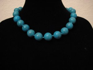 """Blue Turquoise Necklace 17.5"""""""