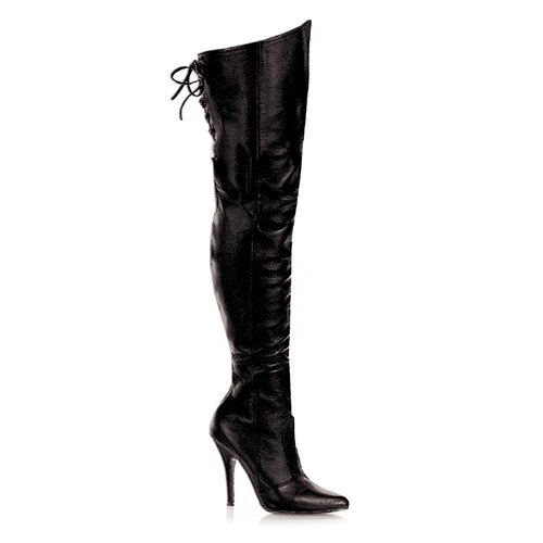Black Leather 5 Inch Thigh Boot W/Lacing sz 6