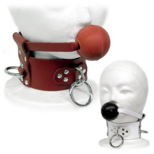 White Leather Collar with Ball Gag Sm/Med