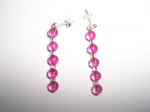 Pink round bead earrings