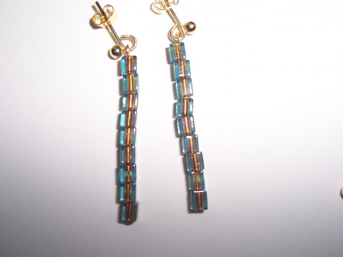 Blue & Copper square bead earrings