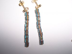 Blue & Copper square bead earrings