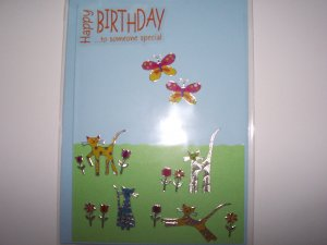 Cat & Butterfly Birthday Card
