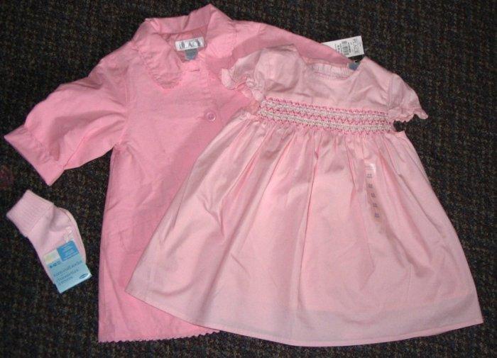 THE CHILDREN'S PLACE Princess 3 pieces DRESS & COAT Set - Size 6-9 months