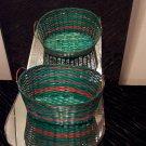 VINTAGE Green and Red Basket *