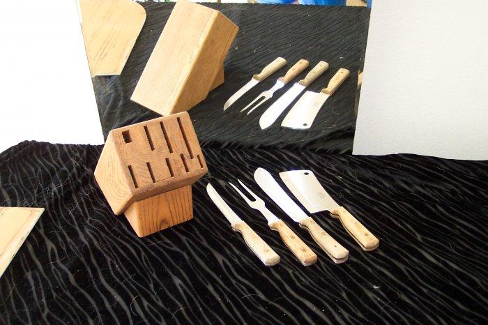 * Vintage Partial Kitchen Knife Set with Butcher Block
