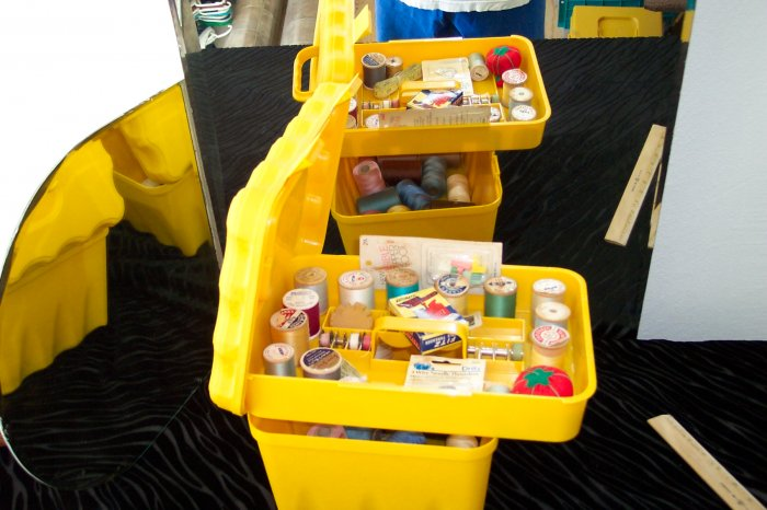 Yellow Pastic Sewing Caddy -- full with goodies