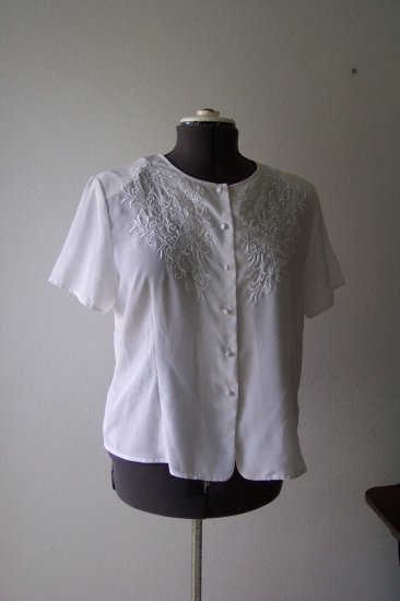 White Satin Type material with white embroidery *