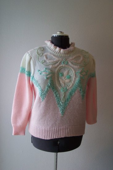 Pink With Green and White Beaded Sweater *
