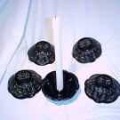Tiara Glassware -- Black Monarch 5 candle holders