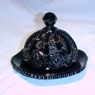 Tiara Glassware -- Black Monarch Covered Butter Dish