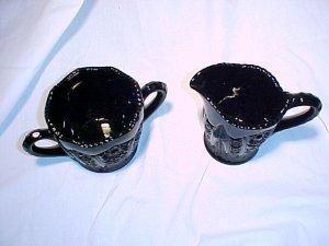 Tiara Glassware -- Black Monarch Creamer and Sugar Bowl