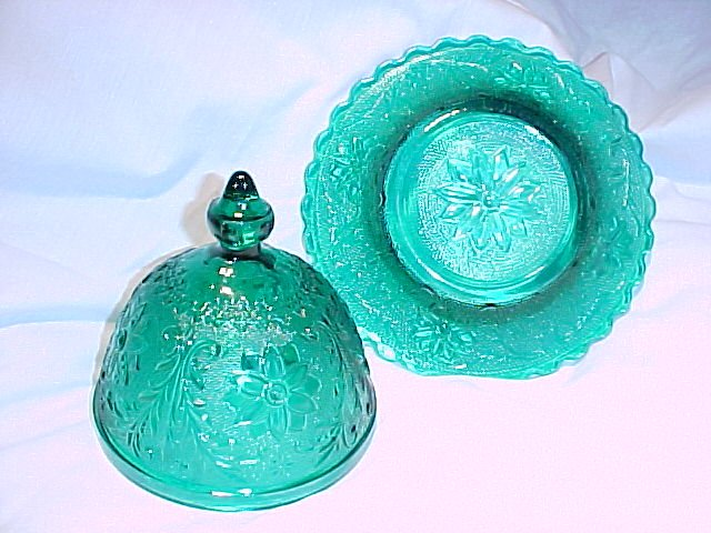 Tiara Glassware -- Sandwich Teal Green Covered Butter Dish