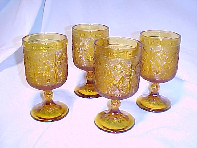 Tiara Glassware -- Sandwich Amber set of 4 Water Goblets