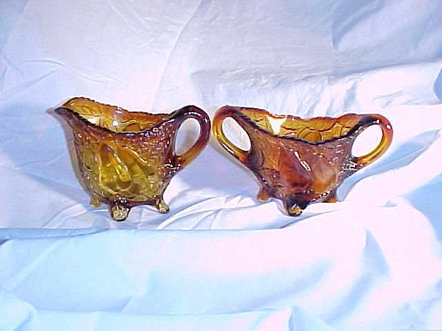 Tiara Glassware -- Sweet Pear Creamer and Sugar
