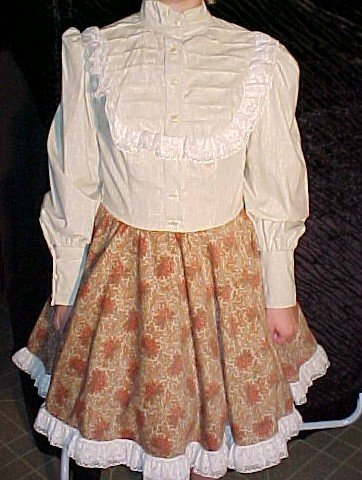 Beige Shirt Style with Cordaroy Skirt Square Dance Dress *