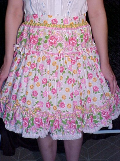 Pink Floral Square Dance Skirt *
