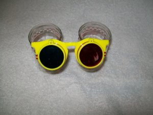 FireWorks Glasses -- Yellow Frame with Pink temples -- Childrens Multiple 3-D Glasses *