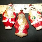 3 Vintage Christmas Santa Ornaments