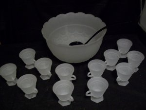 Tiara Glassware -- Frosted Punch Bowl Set