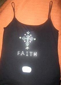 Faith Cross Spaghetti Strap Tank Size Small/Med