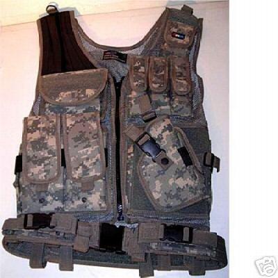 Deluxe Tactical Digital Woodland Camo Vest