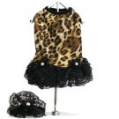 Leopard Print Tank Dress With Matching Hat/Collar XSmall Dog Dress
