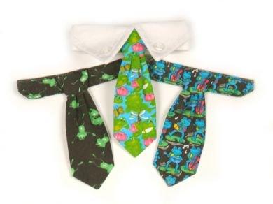 Frog - Dog Tie Gift Set and  Dog Collar Medium