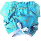 Blue & Shiny Gold Vein Puppy Dog Panties Small