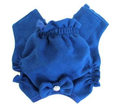 Blue Soft Suede Rhinestone Dog Panties Medium