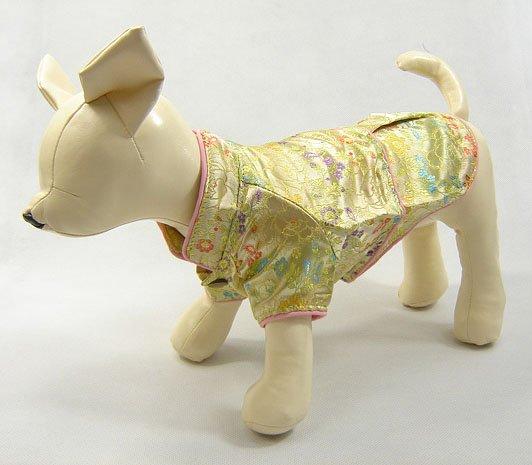 Oriental Cheong-Sam Dog Dress Gold  X-Small