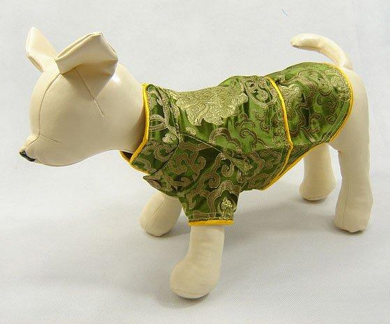 Oriental Cheong-Sam Dog Dress Olive Green Small