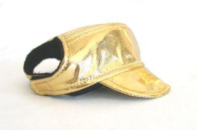 Shiny Gold Visor Cap Large dog hat