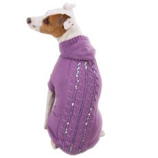 East Side Sequin Cable Hoodies Dog Sweater XXSmall