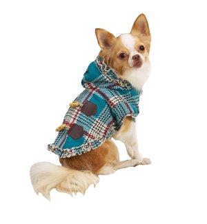 SALE East Side Collection Plaid Toggle Coats Dog Coat Large