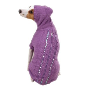 East Side Sequin Cable Hoodies Dog Sweater Large