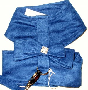 Soft Suede Harness w/Leash - Blue Dog Harness XSmall