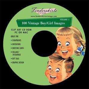 Vintage Retro 1950s Boy/Girl Kids Images Clip Art CD