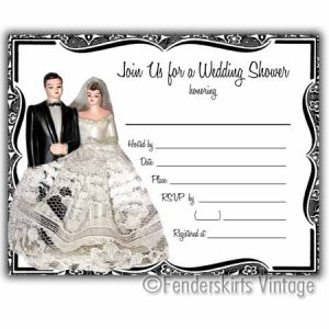 Vintage Retro Cake Topper Wedding Shower Invitations