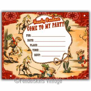 Vintage Retro 1950s Cowboy Wranglers Party Invitations