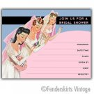 Vintage Retro Three Brides Wedding Shower Invitations
