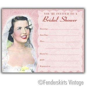 Vintage 1950s Bride Wedding Shower Invitations