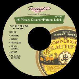 Vintage Cosmetic/Perfume Labels Clipart Clip Art CD