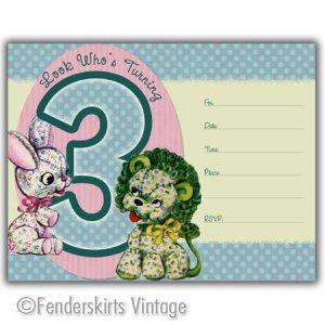 Vintage Retro Lion/Bunny 3yr Birthday Party Invitations