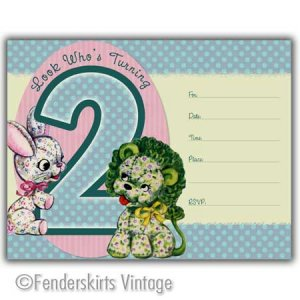 Vintage Retro Lion/Bunny 2yr Birthday Party Invitations